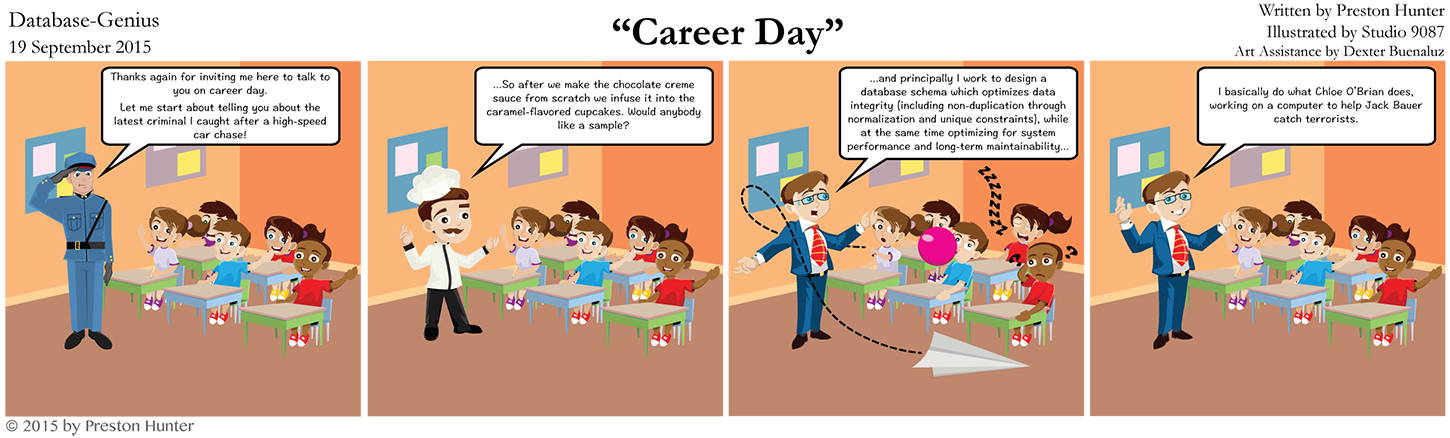 Preston Hunter: Database Genius (relational database cartoon): Career Day